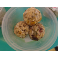 making healthy protein balls to take home and eat with our families.