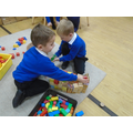Making a Hindu temple with the blocks.