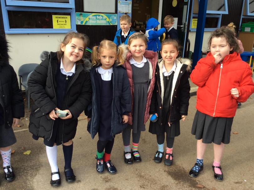 The children are enjoying the start of anti bullying week by wearing odd socks.