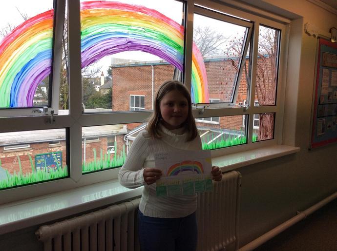 Katie with her window design
