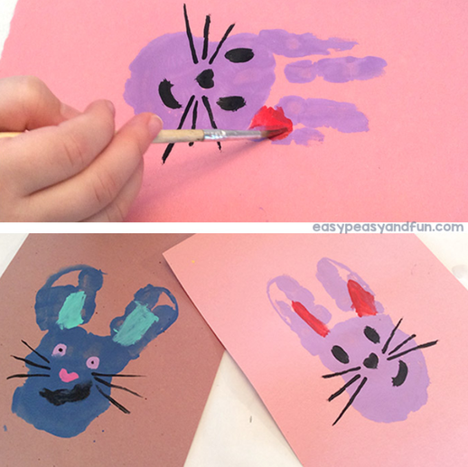 Hand print bunnies using paint.