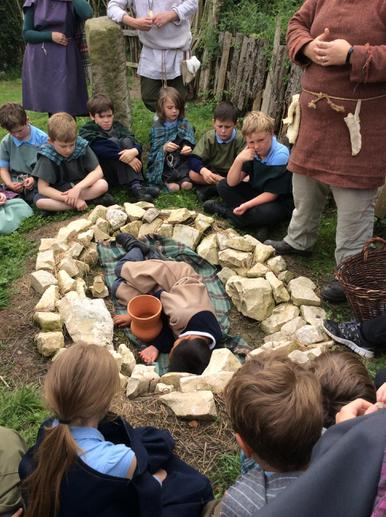 Re-enactment of a tribal burial.