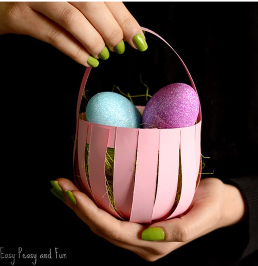 Simple Easter basket using strips of card.