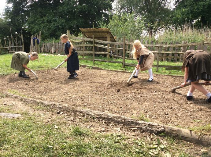 Girls working the land - impressive!