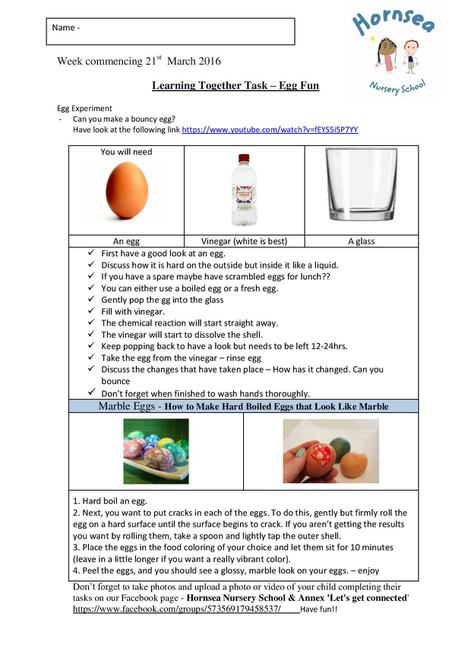 Week commencing 21st March 2016 Egg Experiment