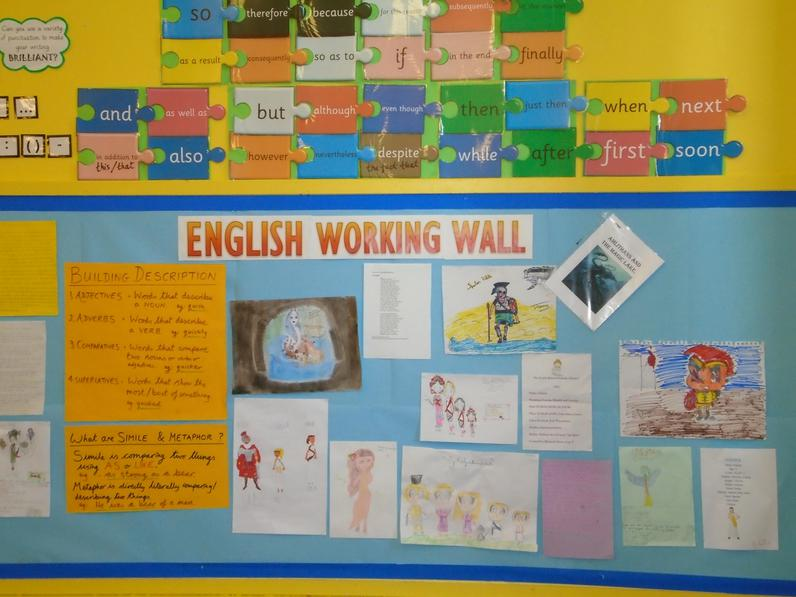 Year 5 English working wall.