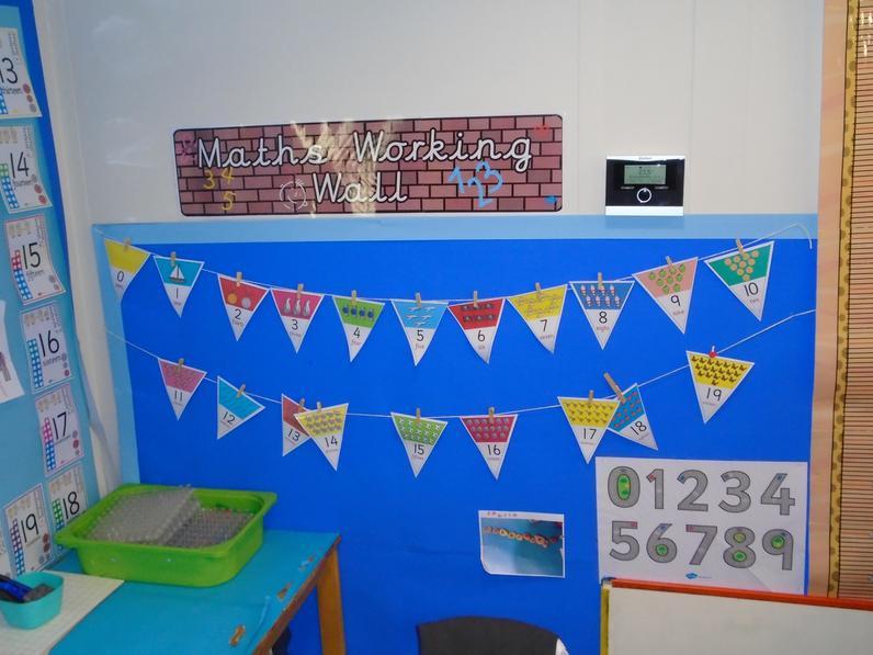 Reception Mathematics working wall.