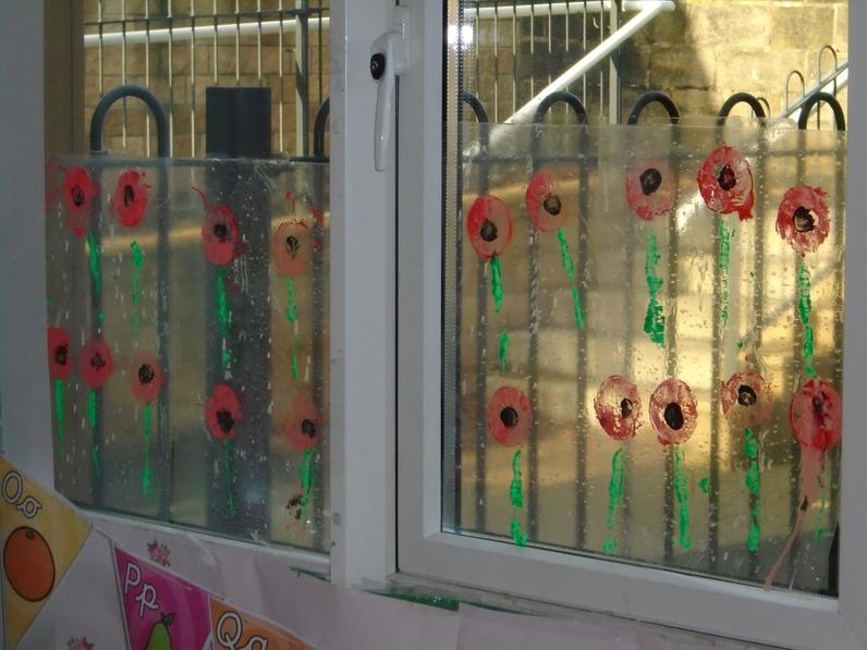 Printed poppies for remembrance.