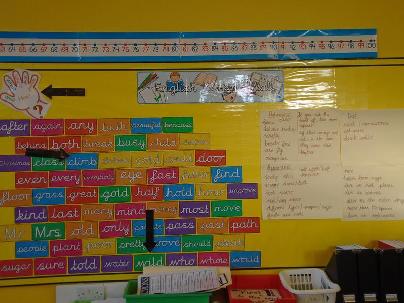 Year 2 English working wall.