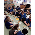 Sharing our food with the school.