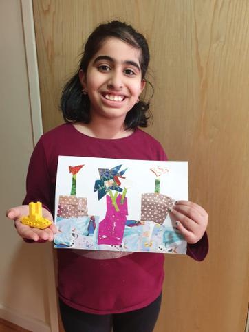 Dua showing us her amazing art work.