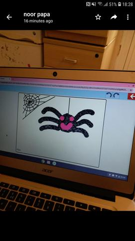 Jasnoor makes a spider on Purple Mash.