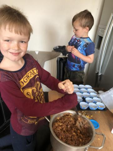 Jack made Chocolate Crispy Cakes!