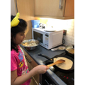 Akshara helping cooking!