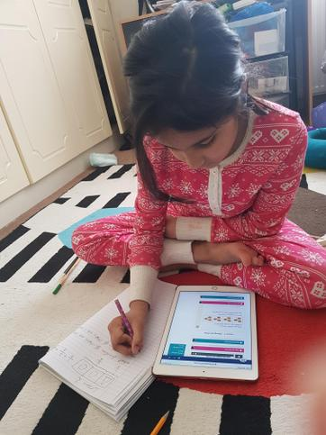 Mahum keeping up with maths.