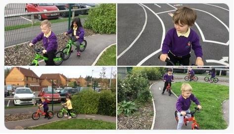 Nursery children using our new balance bikes