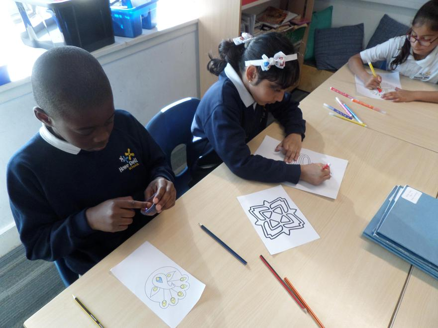 We enjoyed colouring the rangoli patterns.