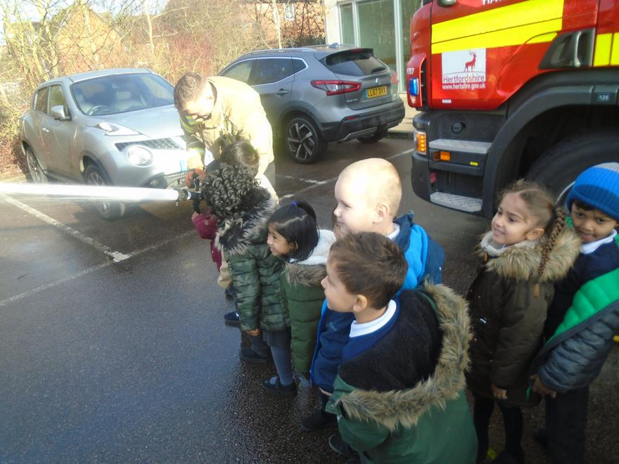 We practised using the hoses