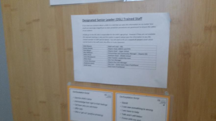 Safeguarding Leaders on back of toilet doors