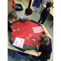 Nursery used red paint to create Chinese letters.