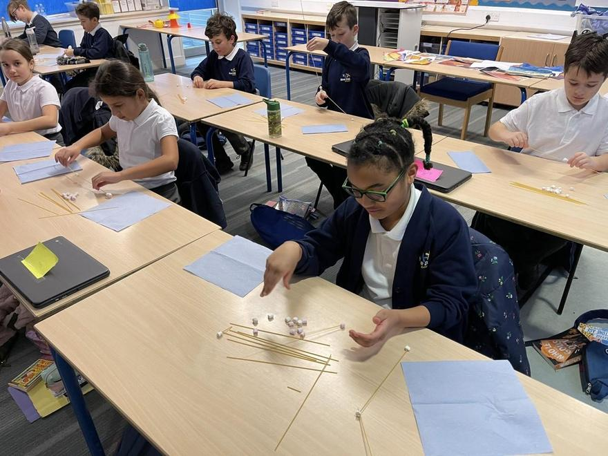 Year 5 Task Master challenge. Can you make a tower using only spaghetti and Marshmallows?