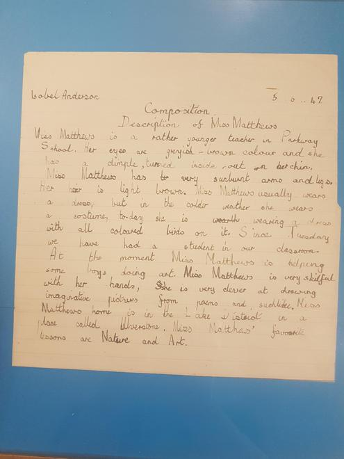 Discovered: 1947 writing from a previous pupil