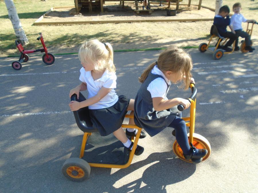 Practising our gross motor skills outside