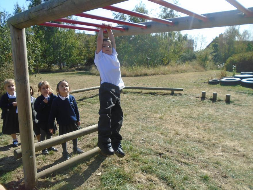 Wow great swinging on the monkey bars!