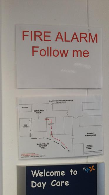 Fire alarm route, changed during practises