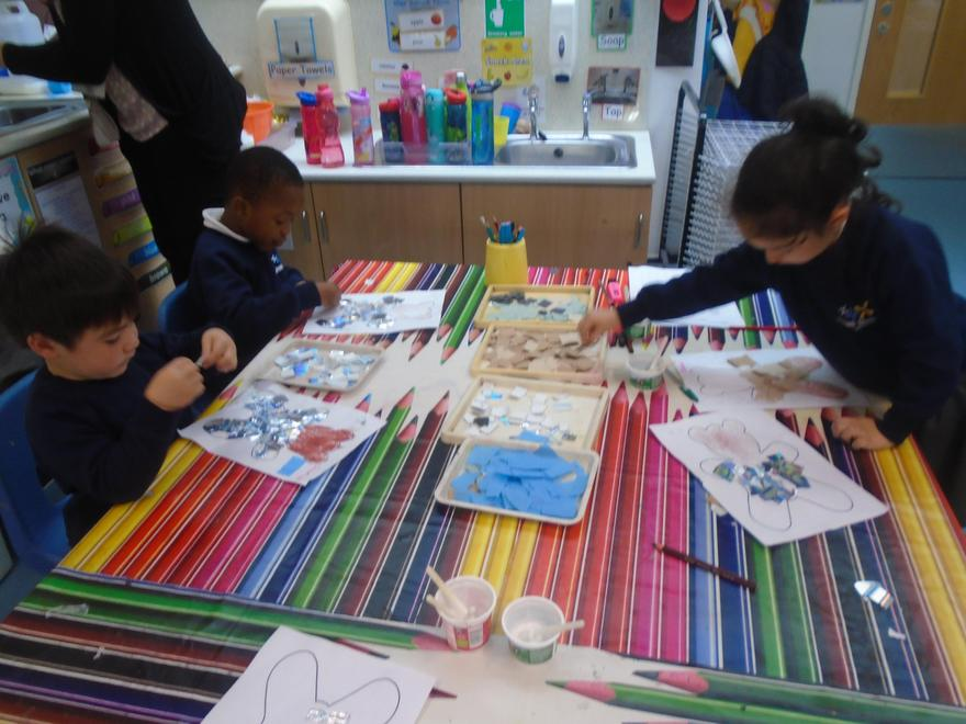 Using collage materials to make explorer bears