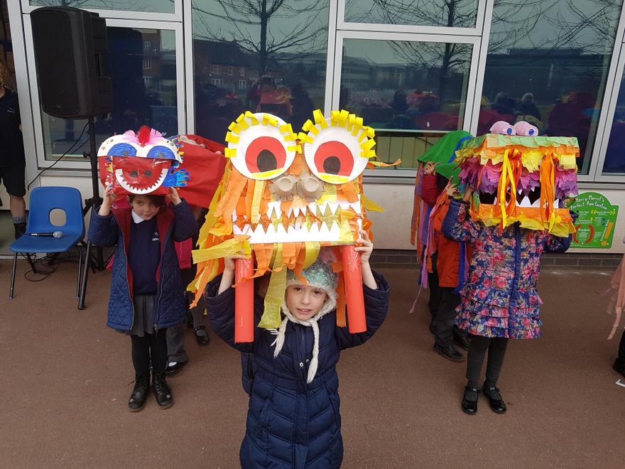 YCA planned whole site Chinese Dragon parade