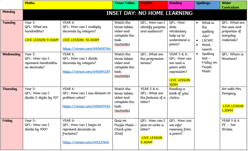 Weekly time table. Home learning available on eschools.