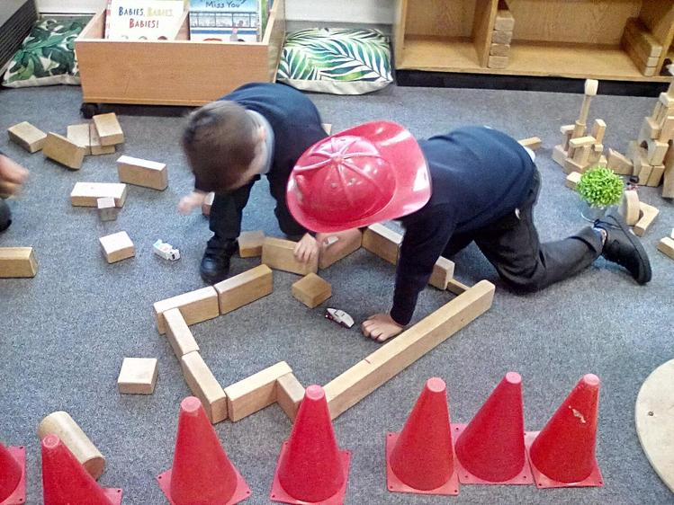 Working as a team to build a road.