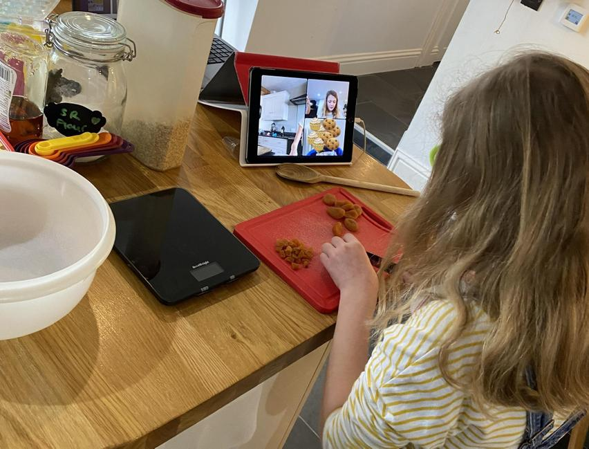 Sophia preparing ingredients for oaty energy cookies