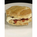 Faye scone served with clotted cream and jam
