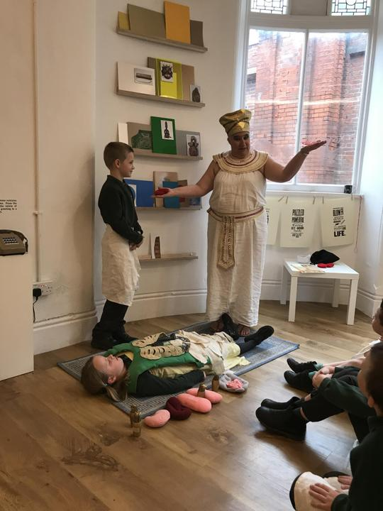 Learning about mummification.