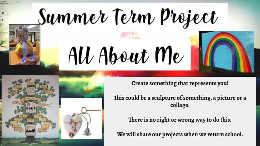 Here is your homework for the summer. We can't wait to see what you create!