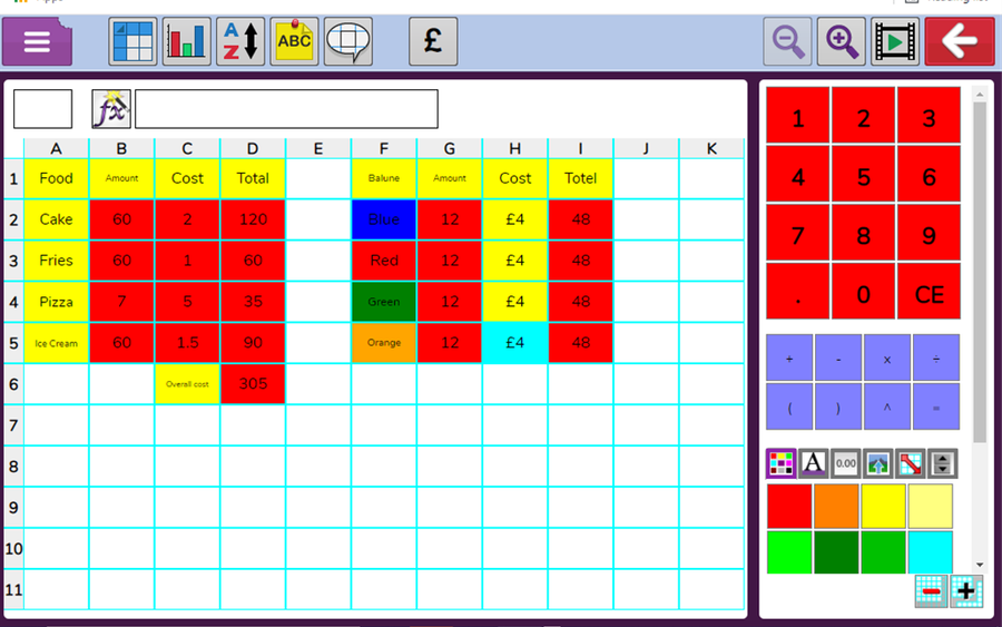 4T - Kye improved his skills to independently create a spreadsheet.