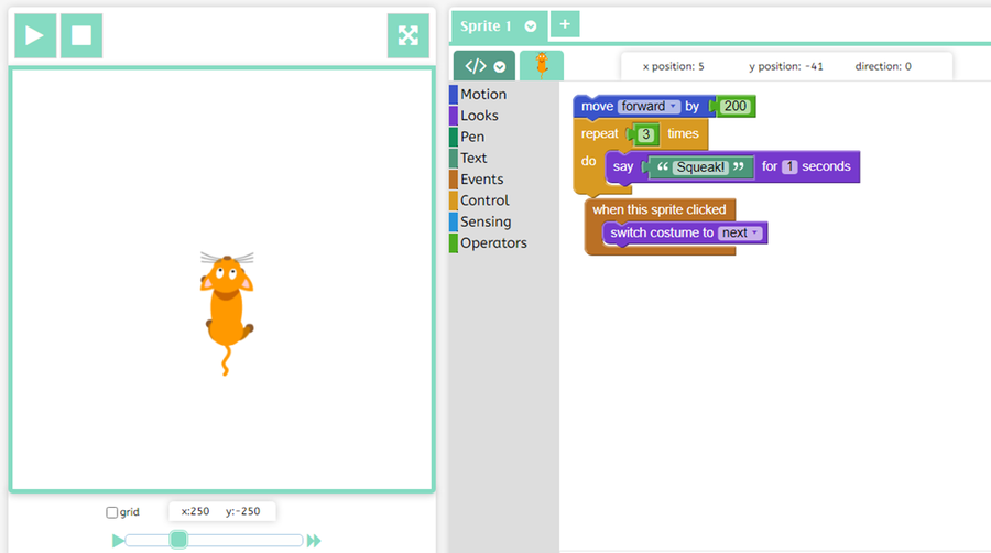 3T - Keira used blocks of code to make her sprite speak and move.