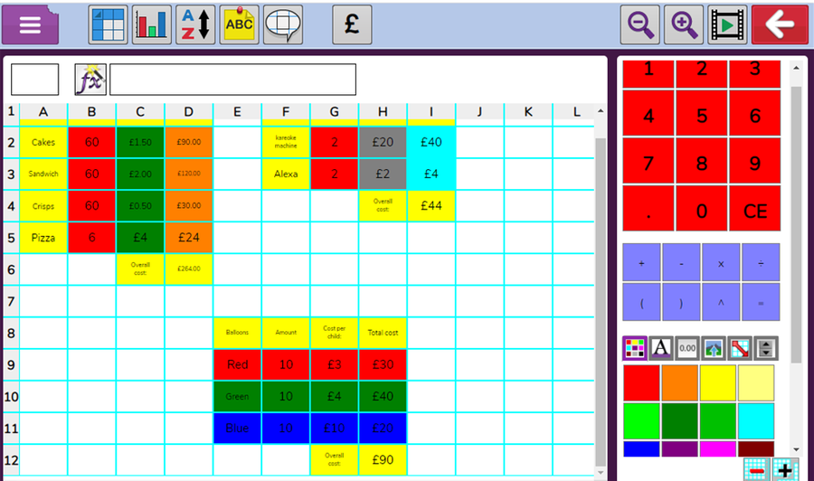 4T - Olly showed increasing complexity in his skills while creating a spreadsheet.
