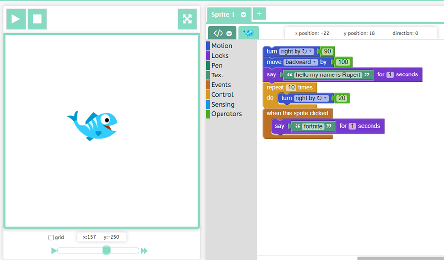 3T - Rupert used blocks of code to make his sprite speak and move.