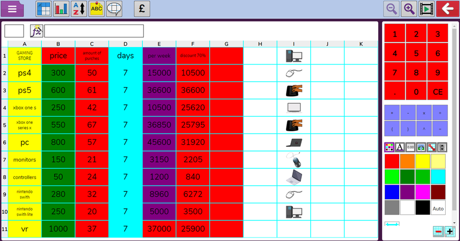 6H - Archie showed a high level of understanding to produce his spreadsheet.