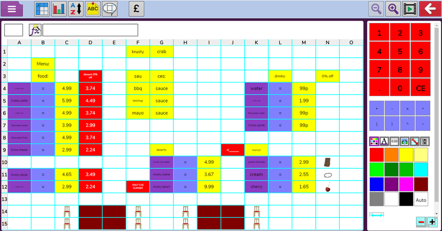 6H - Peyton used the layout of her spreadsheet effectively.