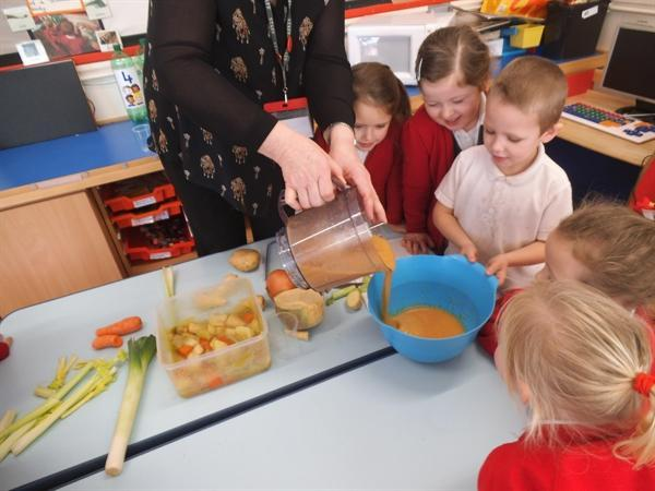 We make the best vegetable soup in Reception!