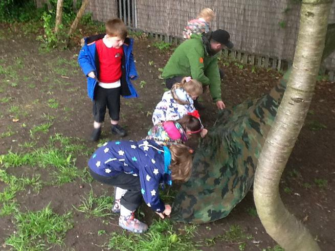 Using twigs to secure our shelter