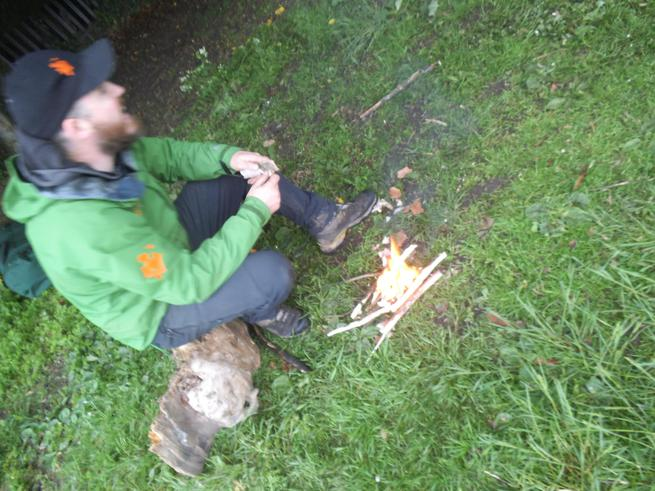 Learning how to make a fire using bark
