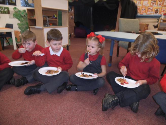 Our Gruffalo picnic.The Gruffalo cakes were yummy!