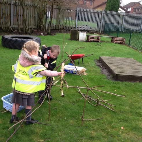 Building a house made from sticks