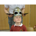 Trying on an Anglo Saxon helmet...
