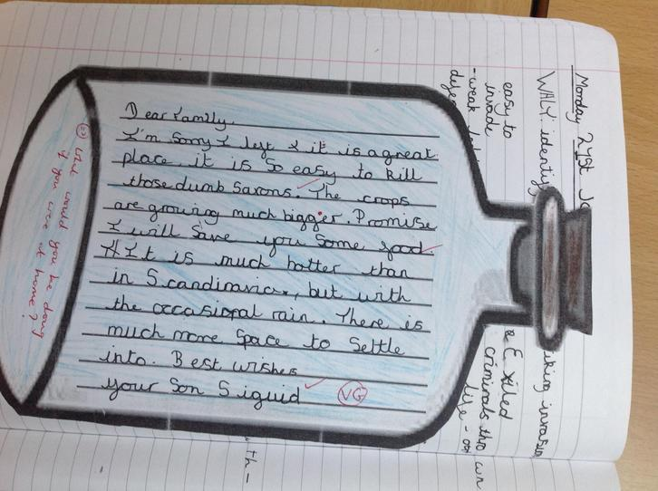 Year 5 Viking soldier's message in a bottle